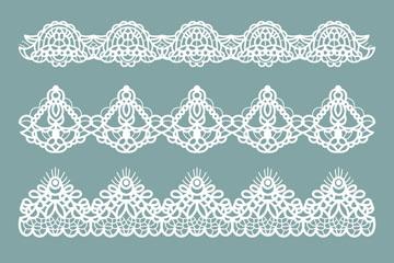 4款白色蕾丝花边矢量素材