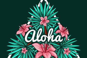 创意夏威夷花草三角标签矢量图