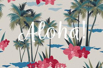 彩绘夏威夷蝴蝶兰和棕榈树无缝背景矢量图
