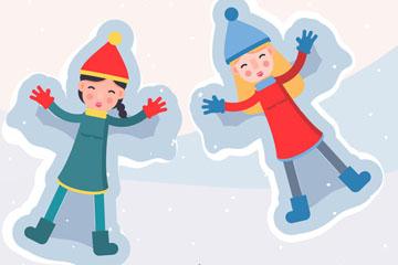 2个可爱躺在雪地上玩耍的女孩矢量素材