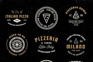 9款精致意大利披萨标志矢量图