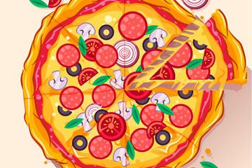 美味切好的披萨矢量素材