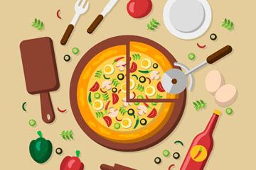 美味意大利披萨和原料矢量素材