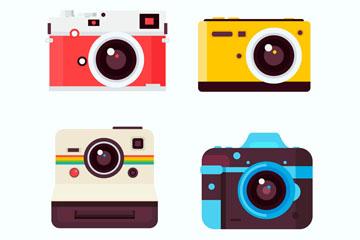 4款精美彩色照相机矢量素材
