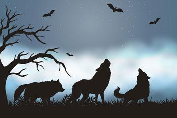 创意荒野上的3只狼剪影矢量素材