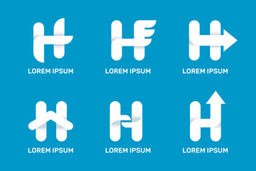 6款白色大写字母H标志矢量图
