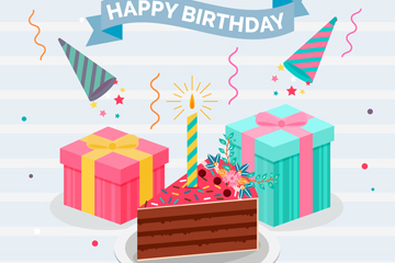 彩色生日三角蛋糕和礼盒矢量素材