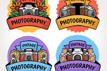 4款手绘复古照相机标签矢量素材
