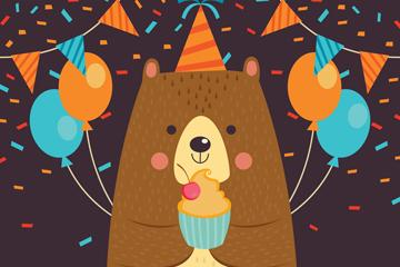 卡通过生日的熊矢量素材