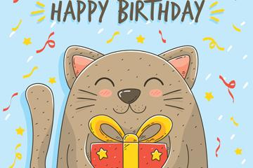 彩绘抱生日礼盒的猫咪矢量素材