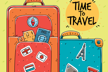 2个彩绘旅行行李箱设计矢量图