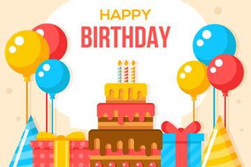 彩色生日气球和蛋糕矢量素材