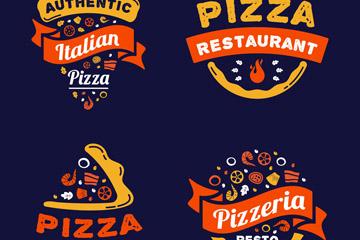 4款彩色披萨快餐标志矢量素材