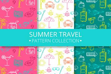 3款彩绘夏季旅行元素无缝背景矢量图