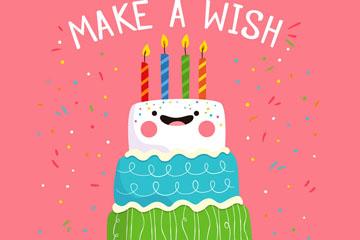 彩绘可爱表情生日蛋糕矢量素材