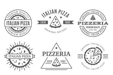 9款黑色意大利匹萨标志矢量图