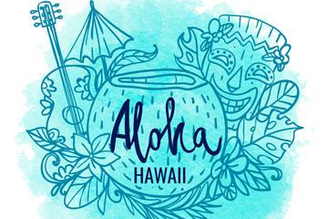 彩绘夏威夷特色元素矢量素材