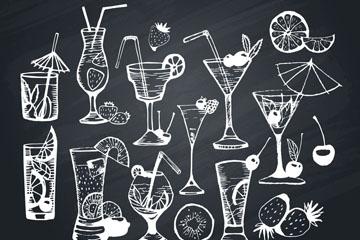 10款创意鸡尾酒黑板画矢量素材