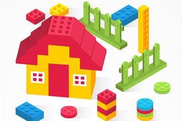 彩色乐高积木拼成的房屋矢量素材