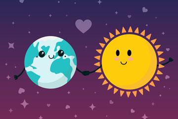 卡通拉手的太阳和地球矢量素材