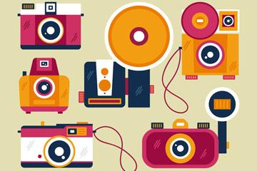 6款彩色扁平化照相机矢量素材