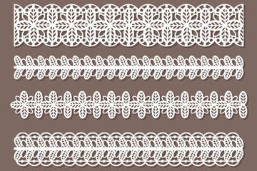 5款白色质感蕾丝花边矢量素材