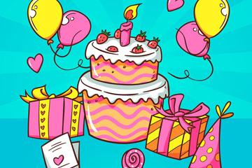 彩绘生日派对气球和蛋糕矢量图