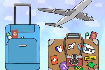 创意飞机和行李箱设计矢量图