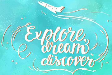 白色飞机旅行隽语艺术字矢量图
