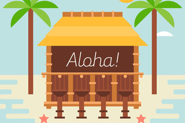 创意夏威夷海上度假木屋矢量素材