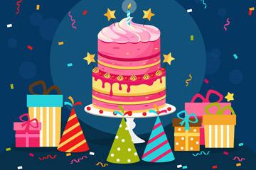 彩色生日派对蛋糕和礼物矢量素材