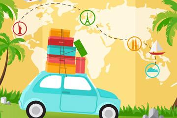 创意旅行地图和车辆矢量素材