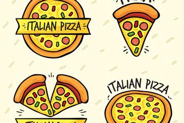 4款卡通披萨标志矢量素材