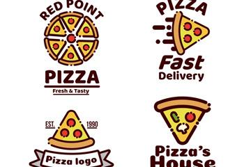 4款可爱披萨标志矢量素材