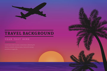 创意度假岛屿风景和飞机剪影矢量图