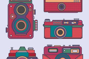 5款复古彩色照相机矢量素材