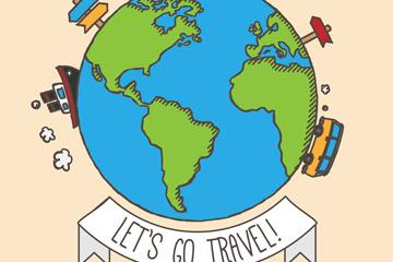 彩绘旅行地球设计矢量素材
