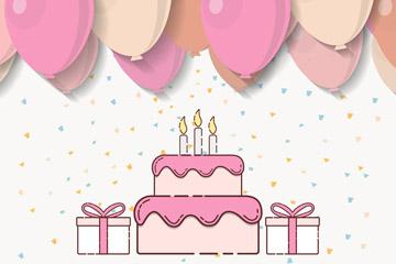 彩绘生日蛋糕和质感气球矢量图