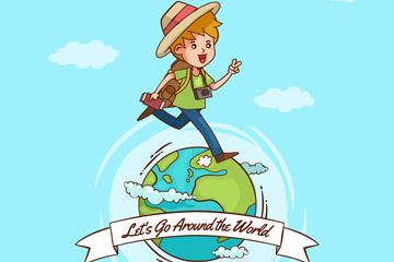 创意地球上的背包客男孩矢量图