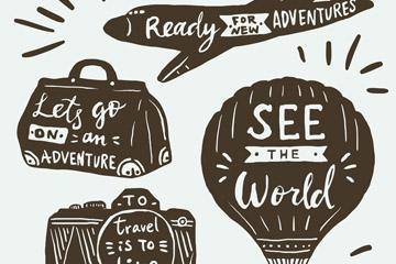4款创意度假图案旅行语标签矢量