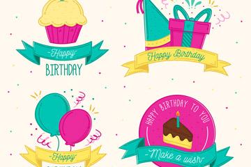 4款手绘生日快乐标签矢量素材