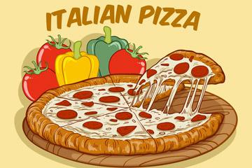 彩色蔬菜和意大利披萨矢量图