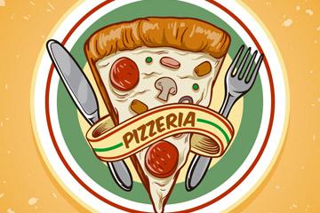 彩绘餐盘里的三角披萨矢量素材