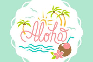 清新夏威夷度假标签矢量素材