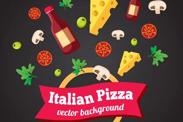 彩色意大利披萨原材料元素矢量素材