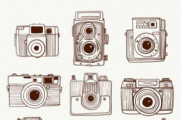 9款手绘照相机设计矢量素材