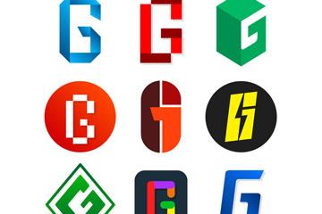 9款彩色大写字母G标志矢量图