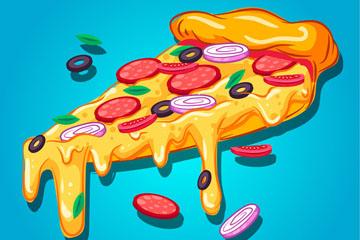 创意流淌奶酪的三角披萨矢量素材