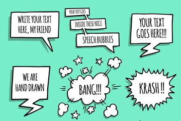 9款白色手绘漫画风格语言气泡矢量图