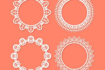 4款创意蕾丝花纹圆环矢量素材